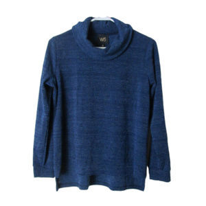 W5 royal blue thick textured sweater cowl neck